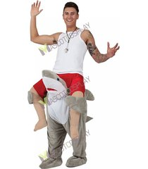 back shoulder shark carry me ride on stag mascot costume christmas funny outfit