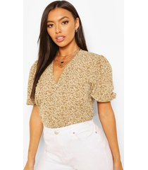 ditsy floral woven puff sleeve blouse, sage