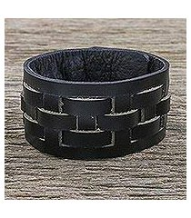 leather wristband bracelet, 'moto chic in black' (thailand)
