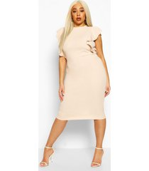 plus double ruffle sculpted midi dress, sand