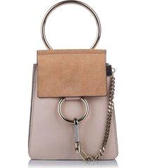 chloe faye bracelet leather crossbody bag brown, beige, brown sz: m