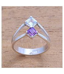blue topaz and amethyst cocktail ring, 'twinkling twilight' (indonesia)