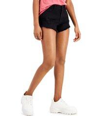 wallflower juniors' frayed denim shorts