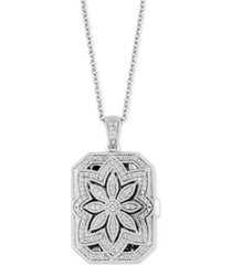 """diamond floral locket 20"""" pendant necklace (1/4 ct. t.w.) in sterling silver"""