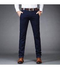 pantalón formal de algodón gaupucean para hombre-azul