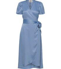 julissa wrap dress knälång klänning blå just female