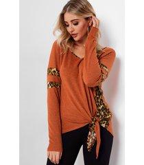 raya de leopardo anudada naranja t camisa