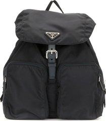 prada pre-owned triangle logo drawstring backpack - blue