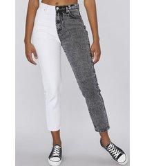 jeans mom bicolor gris corona