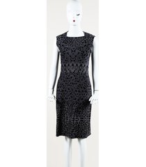 alaia animal print fleece midi sheath dress black/gray/animal print sz: l
