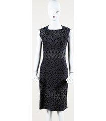 alaia animal print fleece midi sheath dress