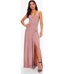 slinky wrap ruched strappy maxi bridesmaid dress, mauve