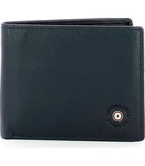 aeronautica militare blue leather mens bifold wallet