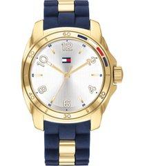 tommy hilfiger women's navy rubber & gold-tone bracelet watch 36mm
