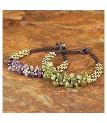 amethyst and peridot wristband bracelets, 'lilac green orchids' (pair) (thailand)