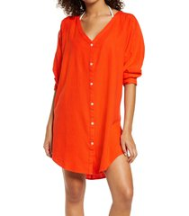 chelsea28 oversize linen blend cover-up shirt, size xx-small in orange cherry at nordstrom