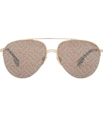 burberry eyewear monogram print pilot sunglasses - brown