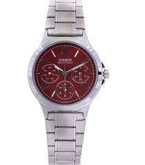 reloj plateado-rojo casio