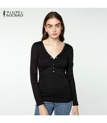 zanzea algodón de las mujeres tops 2018 más el tamaño blusas moda kinitted camisas de manga larga con cuello en v atractivo strech sólido blous blusas femininas negro -negro