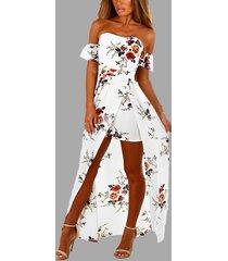 blanco con hombros descubiertos, estampado floral, hendidura vestido