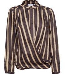 shirt in jacquard stripes w. button blouse lange mouwen bruin coster copenhagen