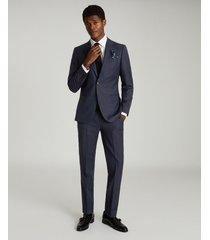 reiss capri - wool blend slim fit trousers in navy, mens, size 38