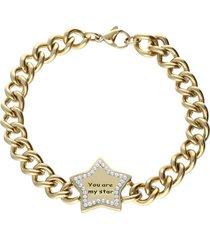 bracciale lady message acciaio dorato spirituality e cristalli per donna