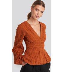 na-kd boho anglaise balloon sleeve blouse - orange