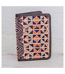 leather accent cotton passport wallet, 'geometric imagination' (guatemala)