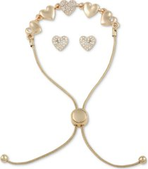 guess gold-tone crystal heart slider bracelet & stud earrings set
