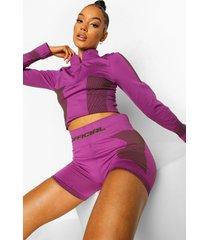 ofcl naadloze corrigerende top met korte rits, purple