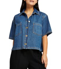 river island short sleeve denim button-up shirt, size 0 us in medium denim at nordstrom