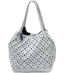 bolsa sacola ombro mantoan  couro c/ forro e clutch azul marinho