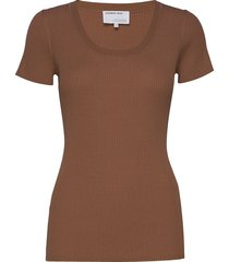 rib knit t-shirt with square neckline t-shirts & tops short-sleeved brun designers, remix