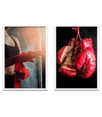 quadro duo 60x80cm boxe esportetreino luva moldura branca s/vidro oppen house
