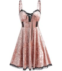 gothic velour lace panel sweetheart neck dress