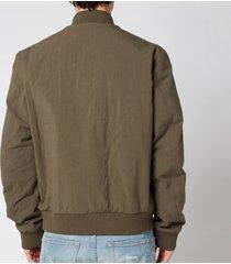 balmain men's embossed reversible bomber jacket - khaki - 52/xl