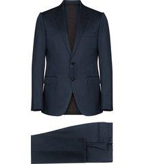ermenegildo zegna milano silk and wool-blend suit - blue