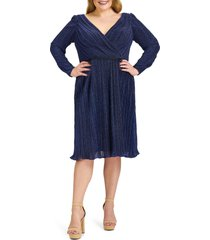 plus size women's mac duggal empire waist long sleeve cocktail dress, size 22w - blue