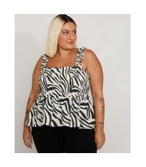 regata feminina plus size mindset estampada animal print zebra com babado alça larga decote reto branca