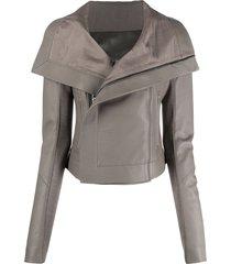 rick owens spread-collar leather jacket - grey