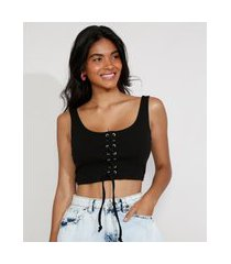 top cropped feminino corset com lace up alça larga decote reto preto