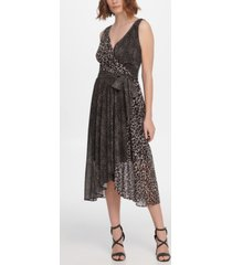 dkny sleeveless double-v faux wrap dress