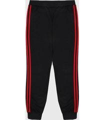 pantalón negro-rojo adidas originals 3 rayas
