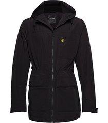 micro fleece lined jacket parka jacka svart lyle & scott