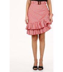 balmain asymmetrical checked skirt