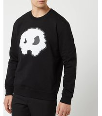 mcq alexander mcqueen men's monster big crew neck sweatshirt - darkest black - xl - black