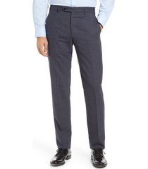 men's zanella devon check flat front wool blend dress pants, size 40 - blue