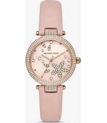 mk orologio parker tonalità oro rosa con pavé e cinturino in pelle - oro rosa (oro rosa) - michael kors