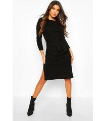 geribbelde gebreide midaxi jurk met ceintuur, zwart